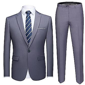 M cinza masculino um botão slim fit 2-piece terno x3750