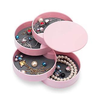 Vaaleanpunainen korut järjestäjä laatikko korut lokero järjestäjä laatikko pieni korvakoru 4 kerrosta pyörivä x6541