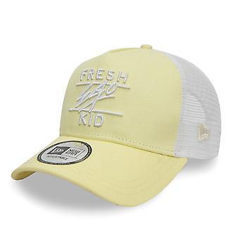 Fresh Ego Kid | Fek-596 New Era Mesh Trucker Cap - Lemon/white