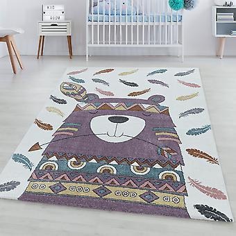 Børns tæppe FUNNY kort bunke tæppe indiske bære fjer design