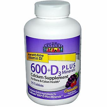 القرن الحادي والعشرين الكالسيوم 600 + فيتامين D3 مع تشيو المعادن، 75 علامات التبويب القابلة للمضغ