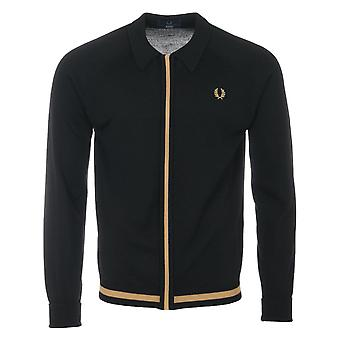 Fred Perry Reissues Concealed Zip Collared Knitted Sweater - Black