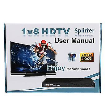 HDMI splitter 1 indgang 8 output, support 4k * 2k 1080P, til møde, teater, kontor