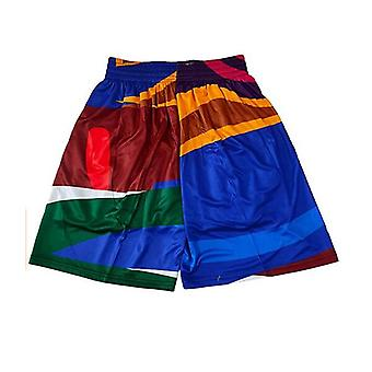 Men's Casual Retro Printed Basketball Beach Shorts,suitable For Outdoor Sport Sandbeach Pants Stitched