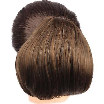 Women Curly Chignon Hair Clip In Hairpiece Stretch Button Style