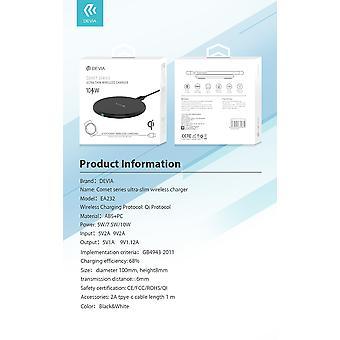 Devia Wireless Charger Pad - 10W max - Qi trådlös snabbladdning - 2A type-c kabel inkl. för iphone X / 11 / 12, Samsung Galaxy S10 / S10 / S10e / Note 9, Huawei
