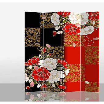 Hieno aasialainen viiltävä japanilainen itämainen huoneenjakaja taittuva yksityisyysnäyttö 4 paneelia W160xH180cm japanilainen pioni