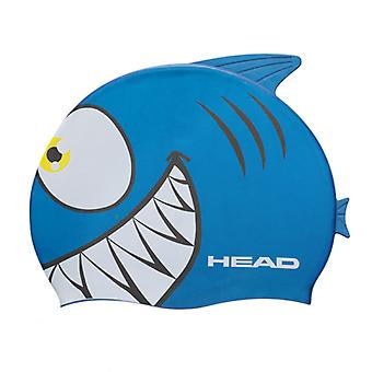 Head Meteor Character Silicone Swimming Cap - Blue Shark