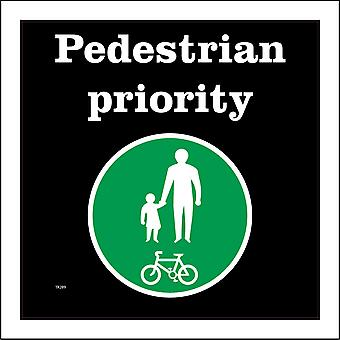 TR289 Pedestrian Priority Sign with Pedestrians Bicycle