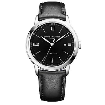 Baume & Mercier M0a10453 Classima Silver And Black Leather Men's Watch