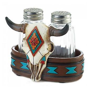 Accent Plus Southwestern Bison Skull Salt and Pepper Set, Pack of 1