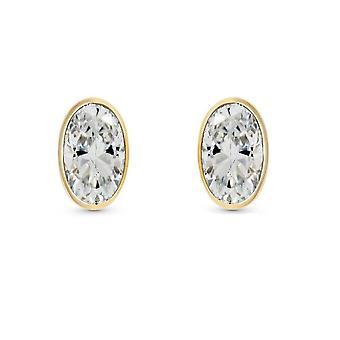 HS Johnson HSJ-65984 Women's Oval CZ Stud Earrings
