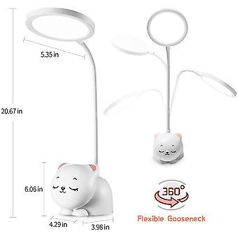 Cute Desk Lamp, Home Office Led Desk Lamp, Usb Charging, 9 Lighting Modes, Flexible Gooseneck, Pen Holder, Touch