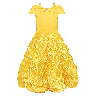 Little Girls Princess Yellow Party Costume Off Shoulder Dress