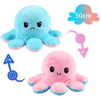 50cm Giant Reversible Octopus Stuffed Animal Reversible Happy Sad Octopus Plüsch Spielzeug Zeigen Sie Ihre Stimmung, ohne ein Wort zu sagen! Rosa und Hellblau