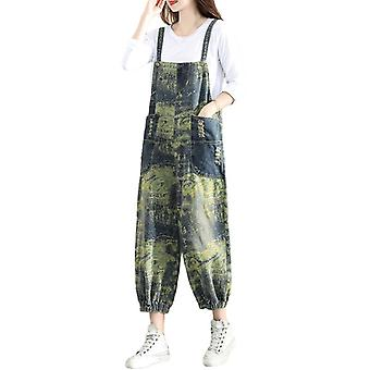 Printed Demin Artist Overalls Woman Loose Casual Pants