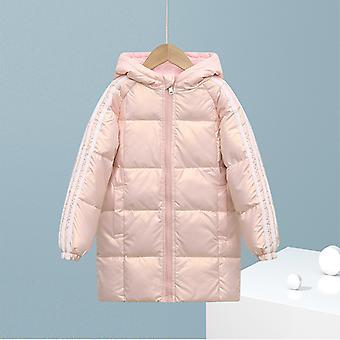 Rózsaszín gyermek down kabát hosszú pamut kabát fiúk és lányok gyermekruházat