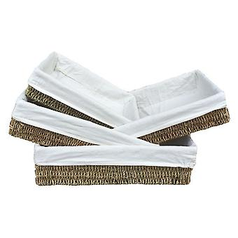 Set of 4 Lined Rectangular Seagrass Tray