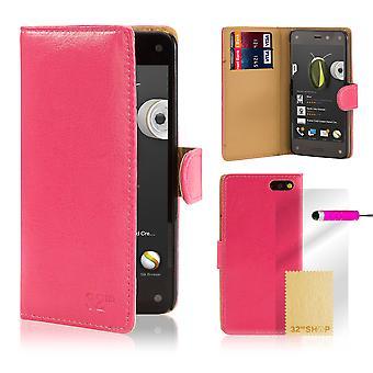 Boka PU läder fallet täcker för Amazon Fire Phone + Stylus - Hot Pink