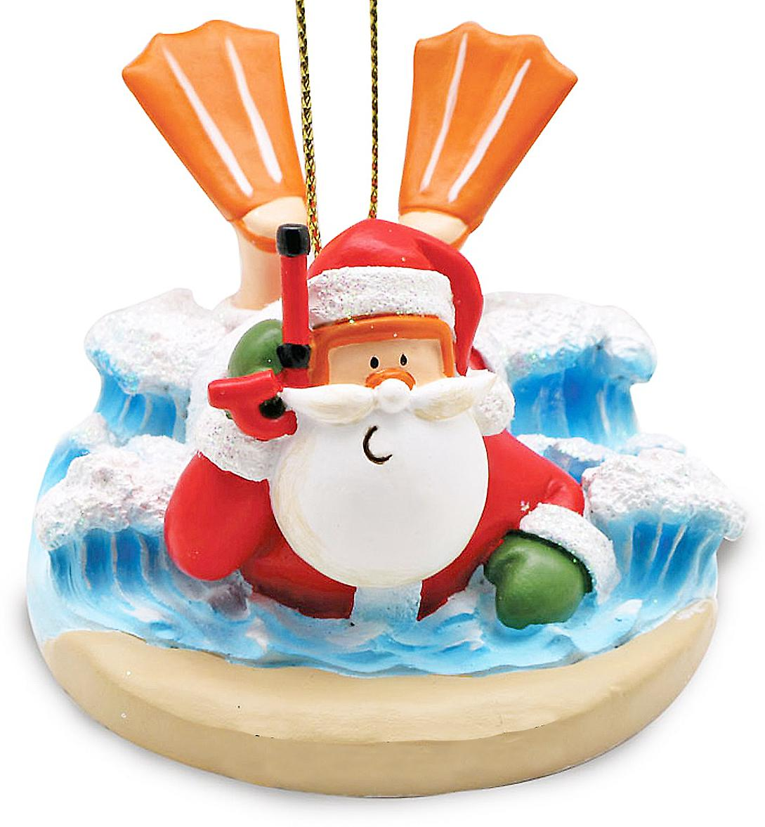 Cape Shore Santa Body Surfing Tropical Christmas Holiday Ornament Resin