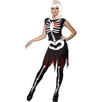 Skelet kostuum jurk heldere LED Halloween dames