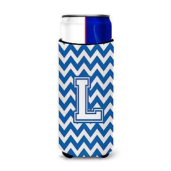 Letter L Chevron Blue and White Ultra Beverage Insulators for slim cans
