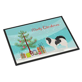 Japanse Chin Merry Christmas Tree Indoor of Outdoor Mat 24 x 36