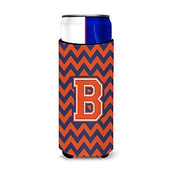 Litera B Chevron pomarańczowy niebieski Ultra napojów Izolatory dla slim puszek