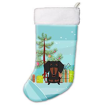 Merry Christmas Tree mäyräkoira musta Tan joulusukka