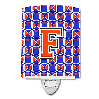 Letter F Football Green, Blue and Orange Ceramic Night Light