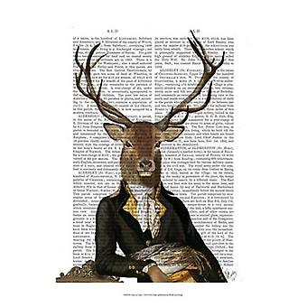 Deer in Chair Poster Print by Fab Funky (13 x 19)