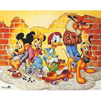 ميكي & أصدقاء الطوب الجدار طباعة ملصق من والت ديزني (20 × 16)