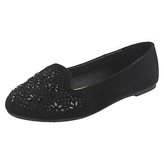 Girls Spot On Flat Slipper Cut Ballerinas H2441
