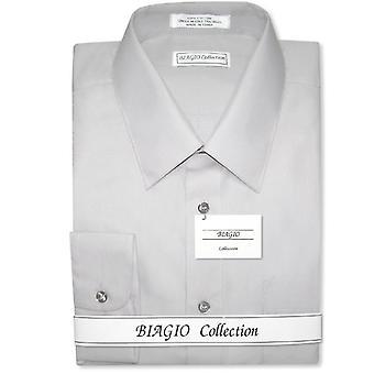 Biagio mäns 100% bomull fast klänning skjorta w konvertibla manschetter
