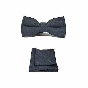 Highland Weave Deep Blue Men's Bow Tie & Pocket Square Set