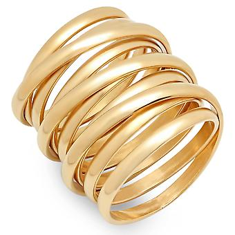 Ladies 18K Gold Plated Stainless Steel Multiwrap Ring