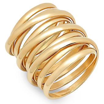 السيدات 18 ك الفولاذ المقاوم للصدأ مطلي الذهب خاتم مولتيوراب