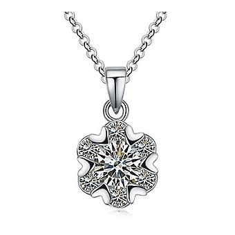 Womens Love And Star Heart Crystal Stone Pendant Necklace Silver BG1354