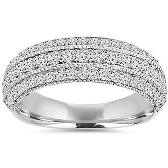 3/4CT pavé de diamants bague 14K or blanc