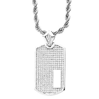 Iced Out Bling Micro Pave Anhänger - DOG TAG silber