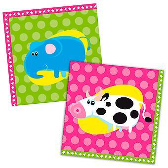 Serviettes of napkins animals animal party birthday 33x33cm 20 units