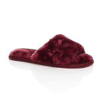 Plat de Ajvani womens peep toe bow luxe confortable faux peau de mouton fourrure feuillet sur les chaussons