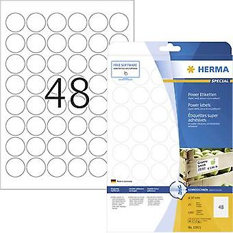 Herma 10915 Labels Ø 30 mm Paper White 1200 pc(s) Permanent Adhesive labels (extra strong), All-purpose labels Inkjet, Laser, Copier 25 Sheet A4
