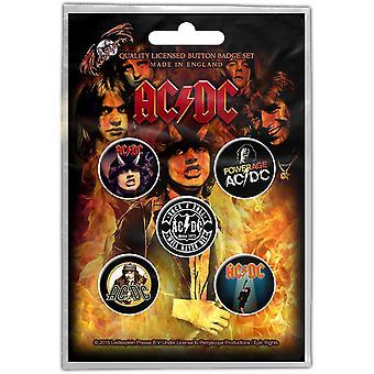AC/DC 5 Pin Badges In Pack vroege Albums