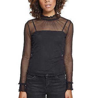 Urban classics damer - lager mesh Långärmad svart