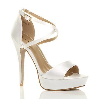 Ajvani damskie szpilki przejechać druhna strappy wesele Suknie ślubne wieczorowe platforma sandały peep toe buty