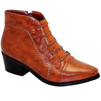 Belmont damer resår Slip på låga Block klack fotled stövlar skor