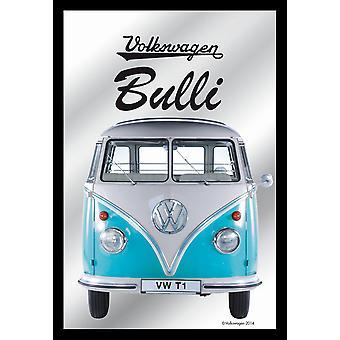 Spiegel VW Bulli VW Lizenz Wandspiegel bedruckt, türkis,  Kunststoffrahmung schwarz, Holzoptik.