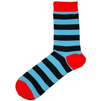 Bassin and Brown Hooded Striped Contrasting Heel and Toe Socks - Blue/Black