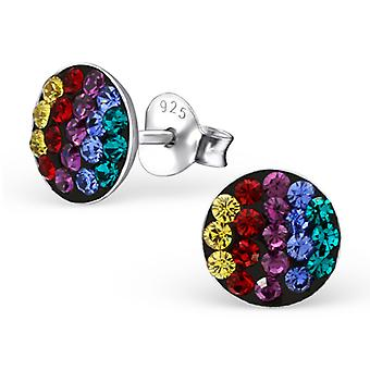 Rainbow - 925 Sterling Silver Crystal Ear Studs - W22407x